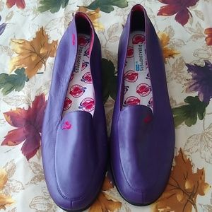 Purple Red Hat Society Leather Loafers